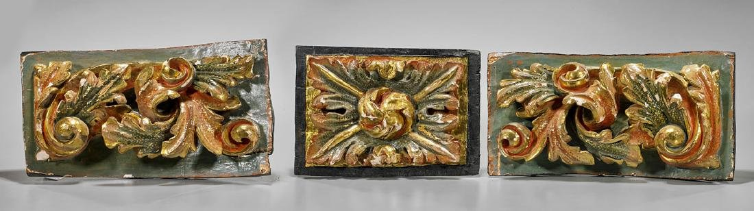 Three Antique Baroque-Style Carved Wood Panels