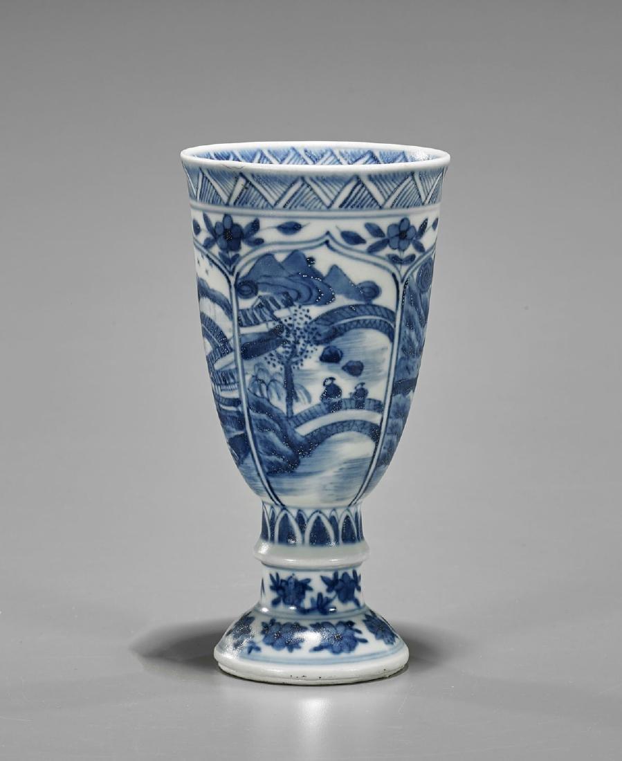 Kangxi Period Blue & White Porcelain Goblet