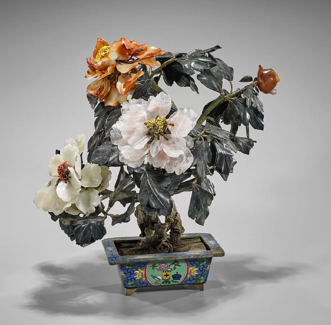 "Large Antique Flowering ""Tree"" in Cloisonne Planter"
