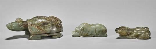 Three Old Carved Jade Animals