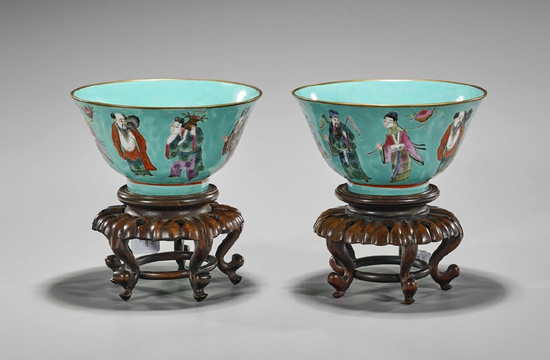 Pair Chinese Enameled Porcelain Bowls: Eight Immortals
