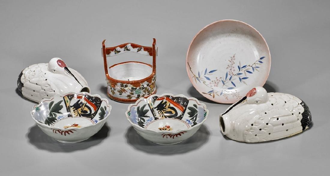 Six Japanese Porcelains: Censers, Dishes & Bucket