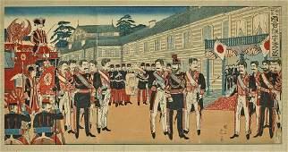 Japanese Woodblock Triptych Print by Watanabe Nobukazu