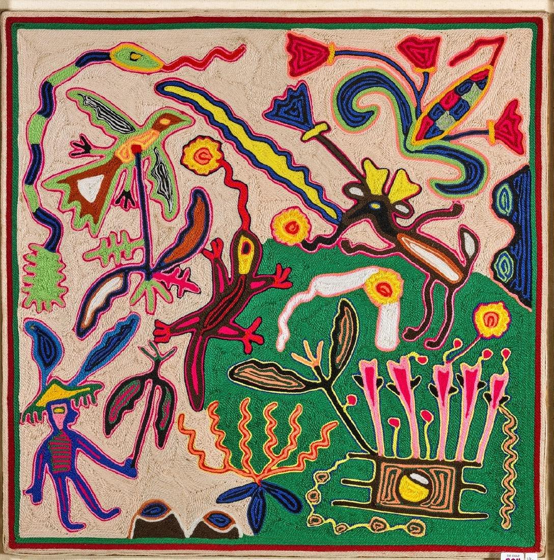 Mexican Huichol Yarn Painting