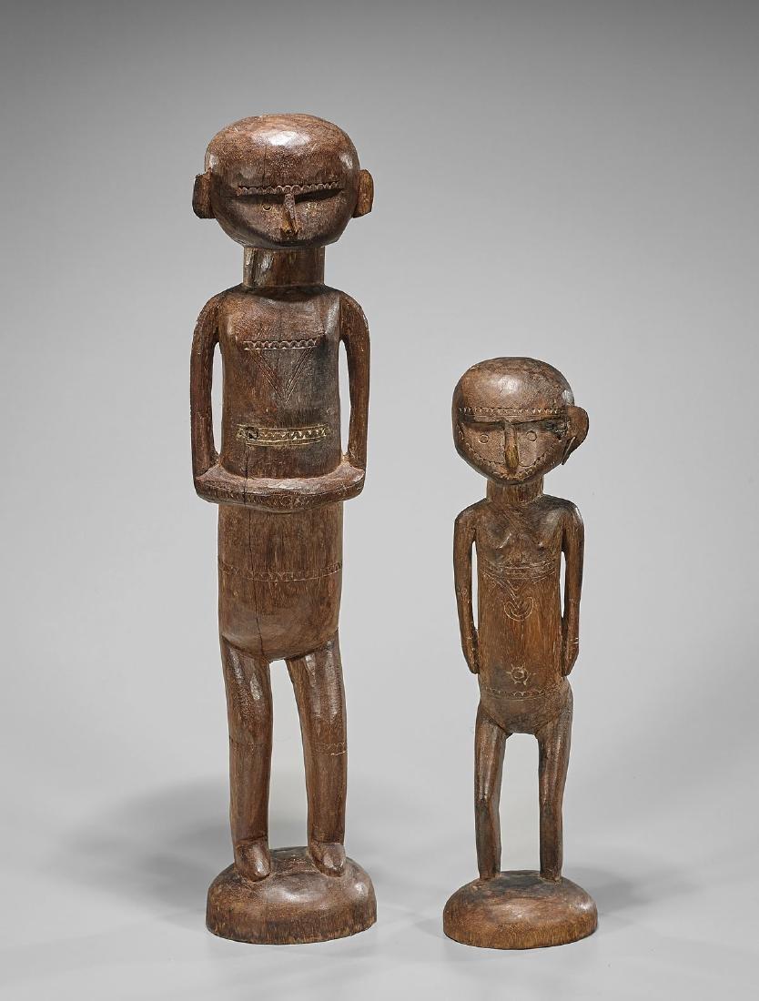 Pair Oceanic Carved Wood Figures