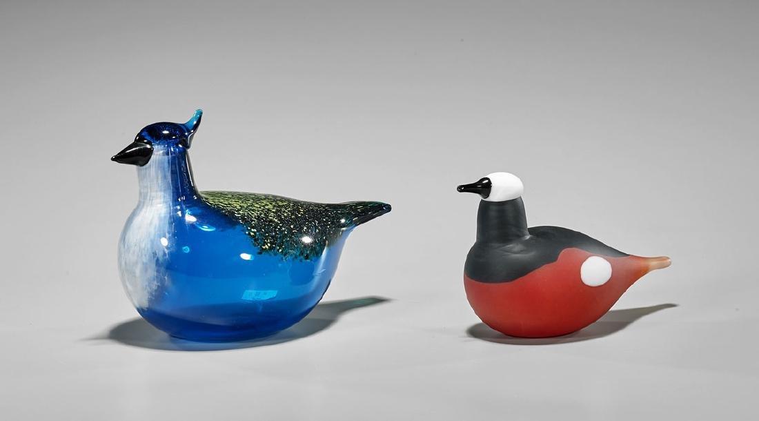 Two Art Glass Birds by Oiva Toikka