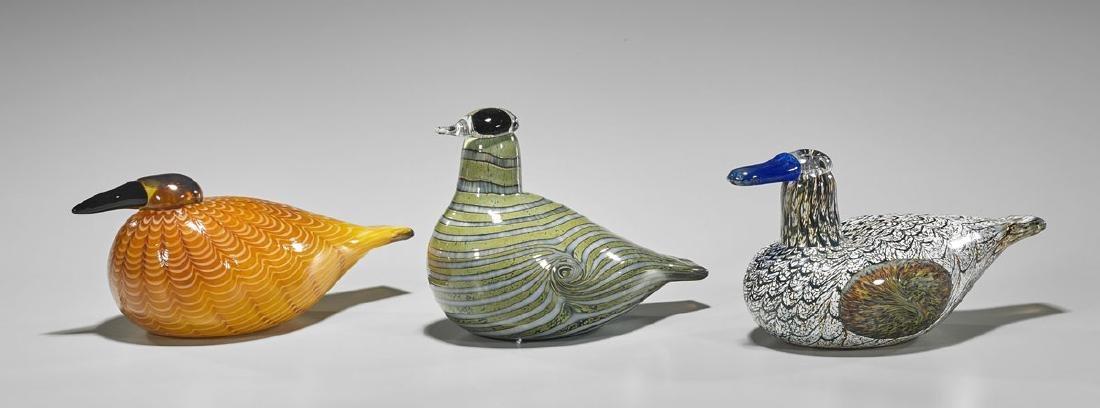 Three Finnish Art Glass Birds
