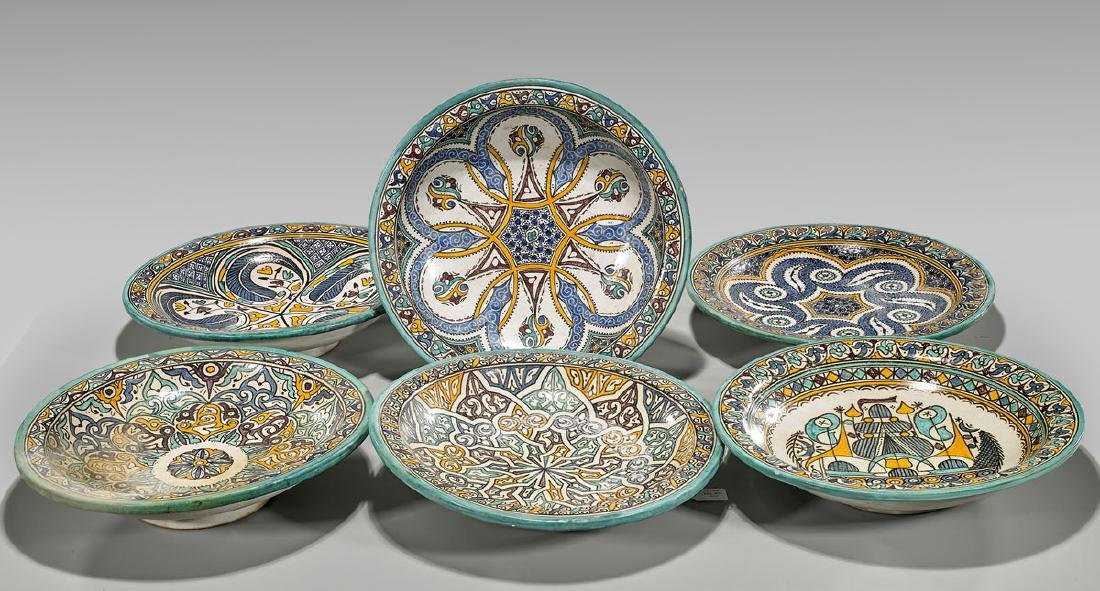 Six Old Moroccan Pottery Dishes