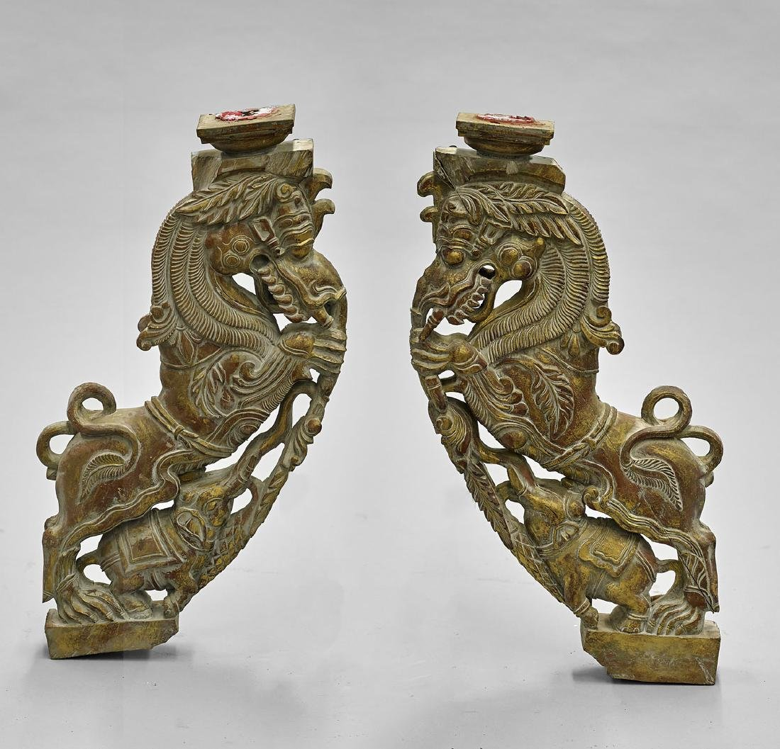 Pair Southeast Asian-Style Corbels/Candlesticks