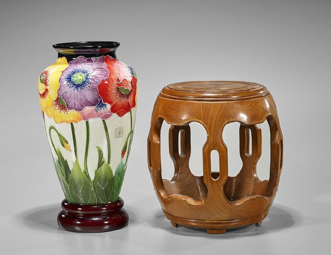 Carved Wood Stool & Floral Porcelain Vase