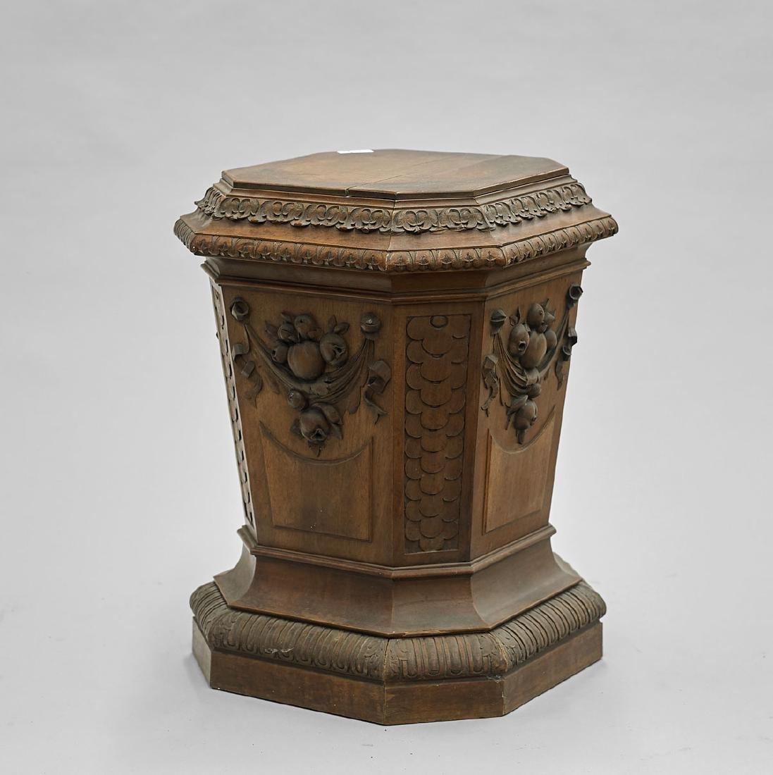 Old Elaborately Carved Wood Pedestal