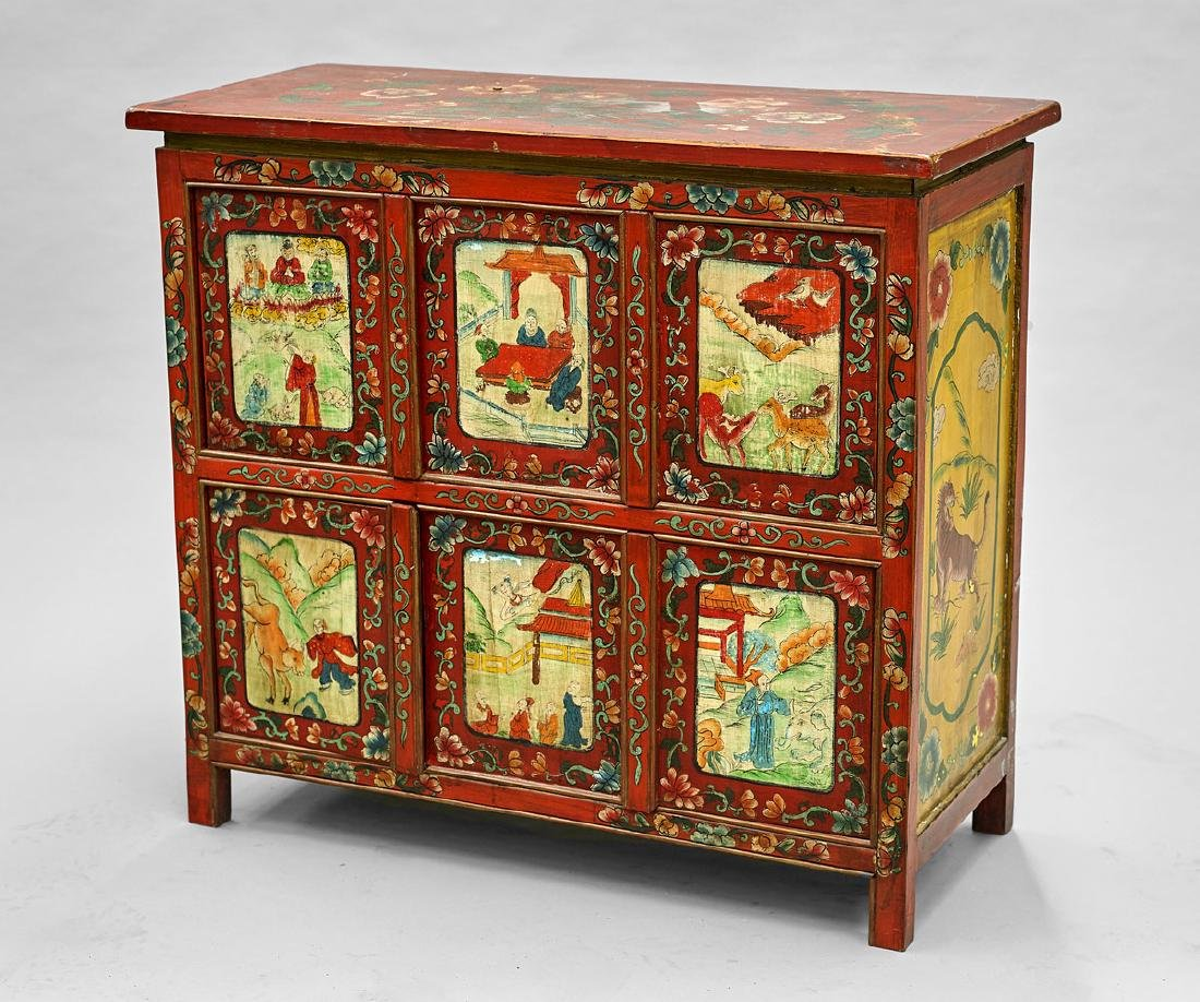 Old Painted & Lacquered Wood Cabinet