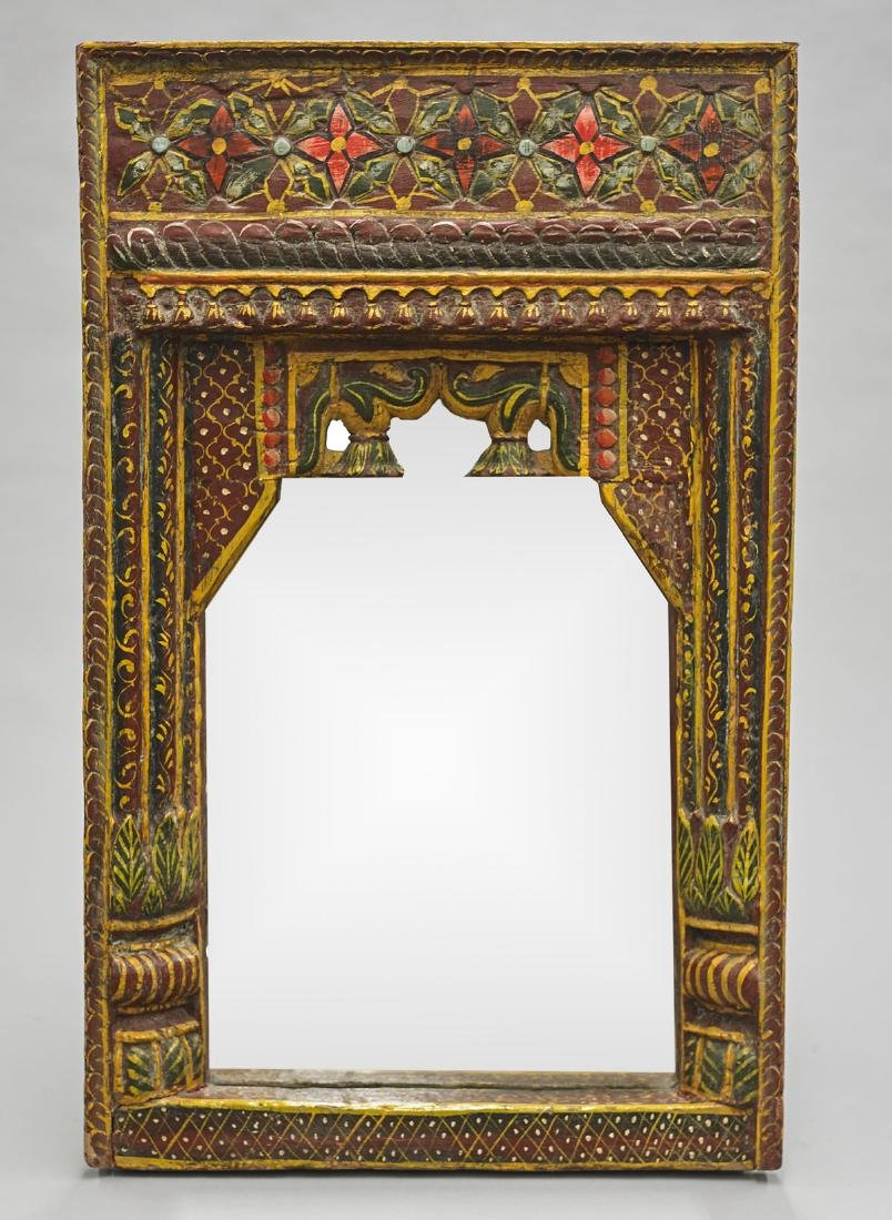 Old Indian Carved & Painted Wood Mirror