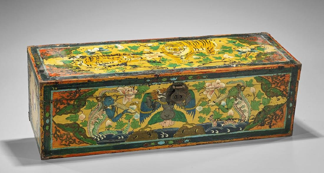 Old Tibetan Painted Wood Chest
