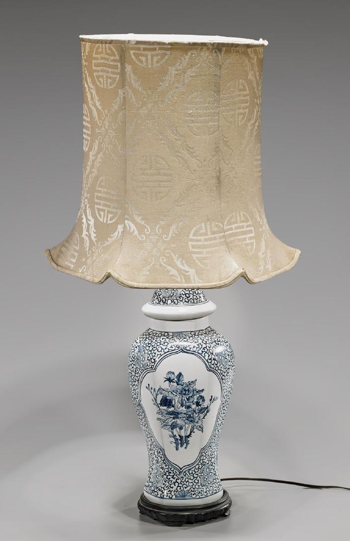 Old Chinese Blue & White Porcelain Vase/Lamp