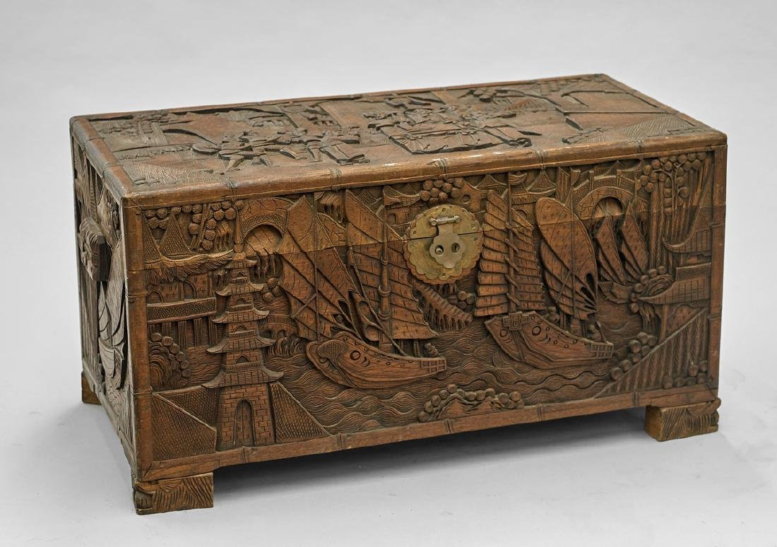 Old Carved Camphor Wood Chest