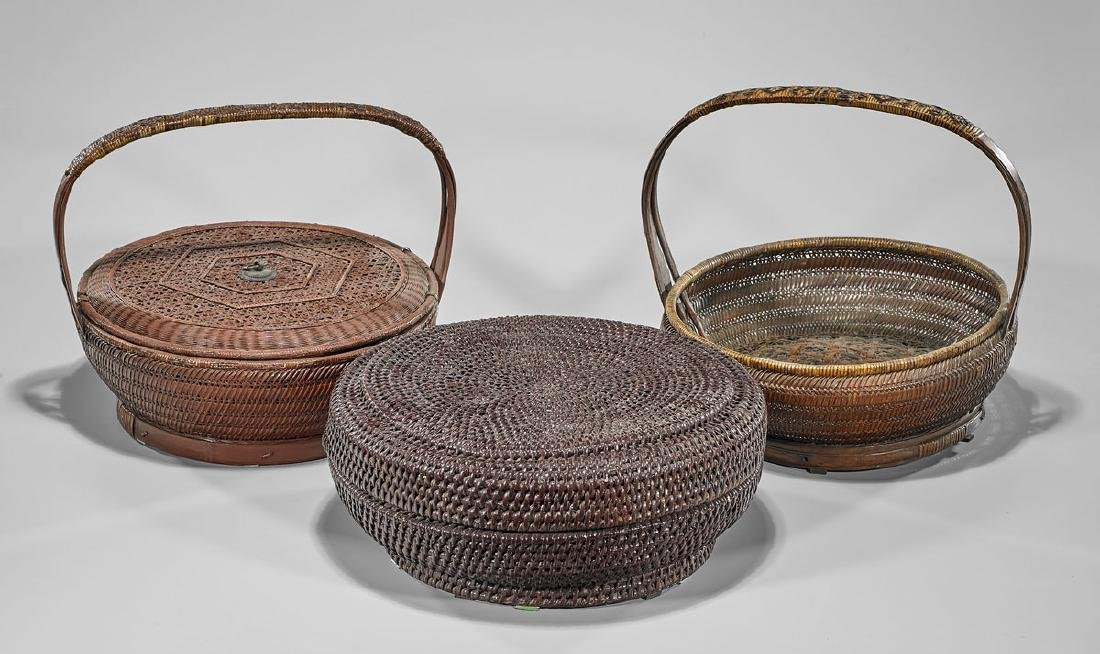 Three Old Chinese & Japanese Woven Baskets