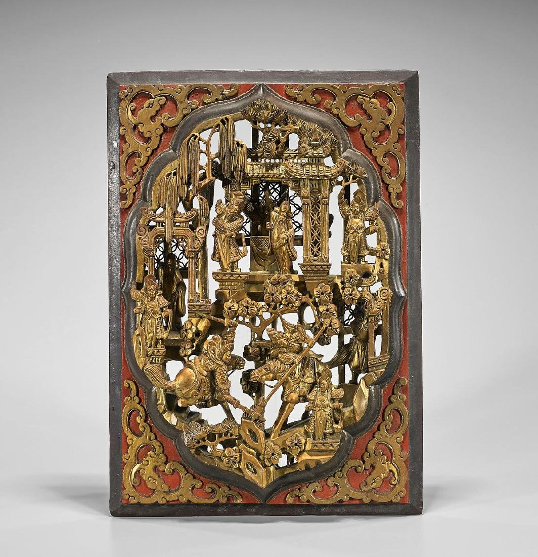 Elaborate Chinese Carved Gilt Wood Panel