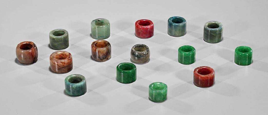 Collection of Carved Stone Archer's Rings