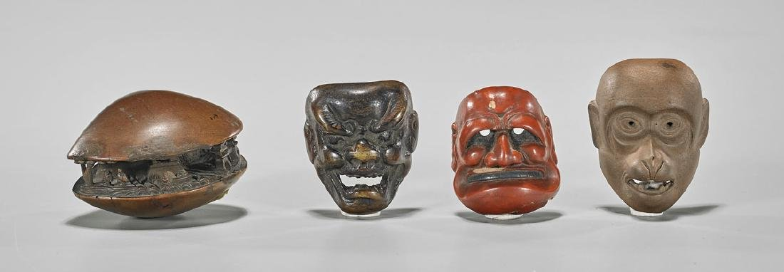 Four Old & Antique Netsuke: Mask & Clam's Dream