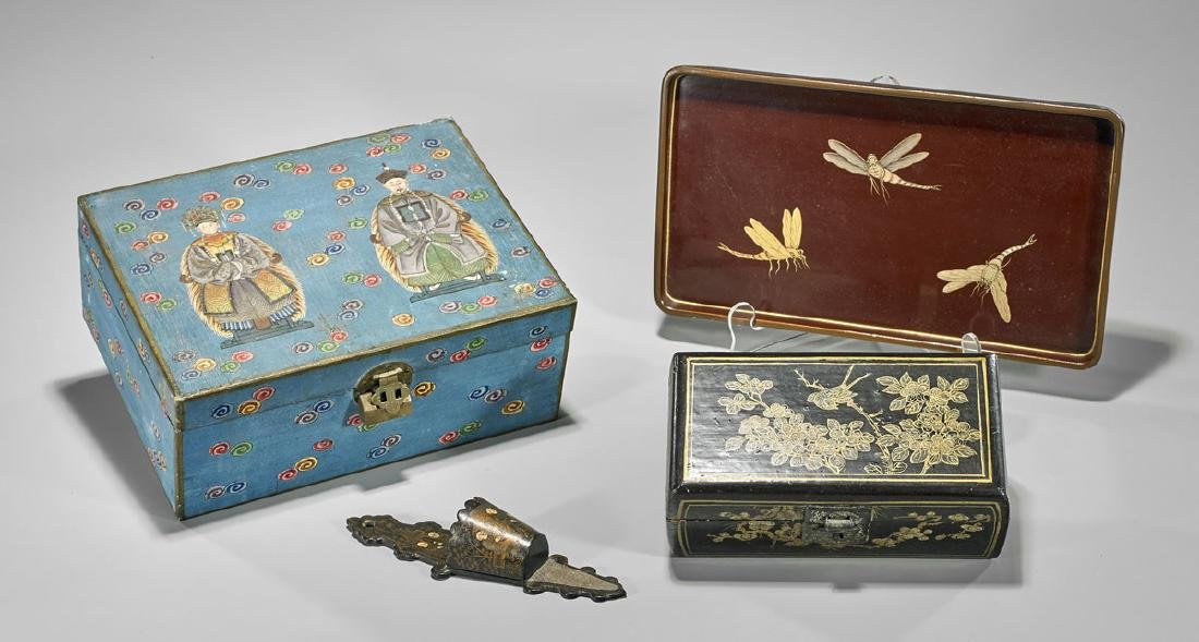 Four Various Chinese Items: Boxes, Tray & Match Holder