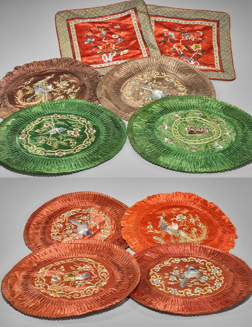 Group of Chinese Silk Pillow Covers