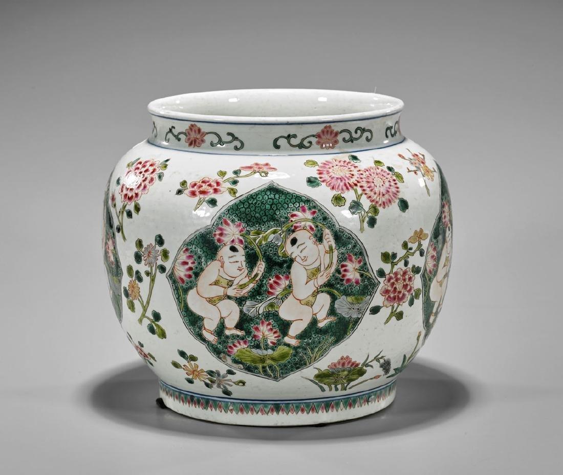 Antique Chinese Porcelain Jar: Boys & Lotus Flowers