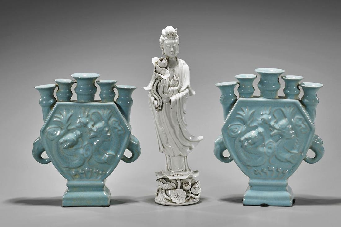 Three Chinese Porcelains: Guanyin & Pair Vases