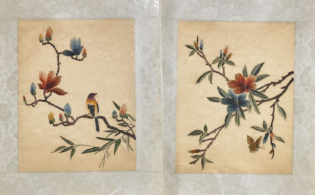 Group of Sixteen Chinese Embroidered Silk Panels