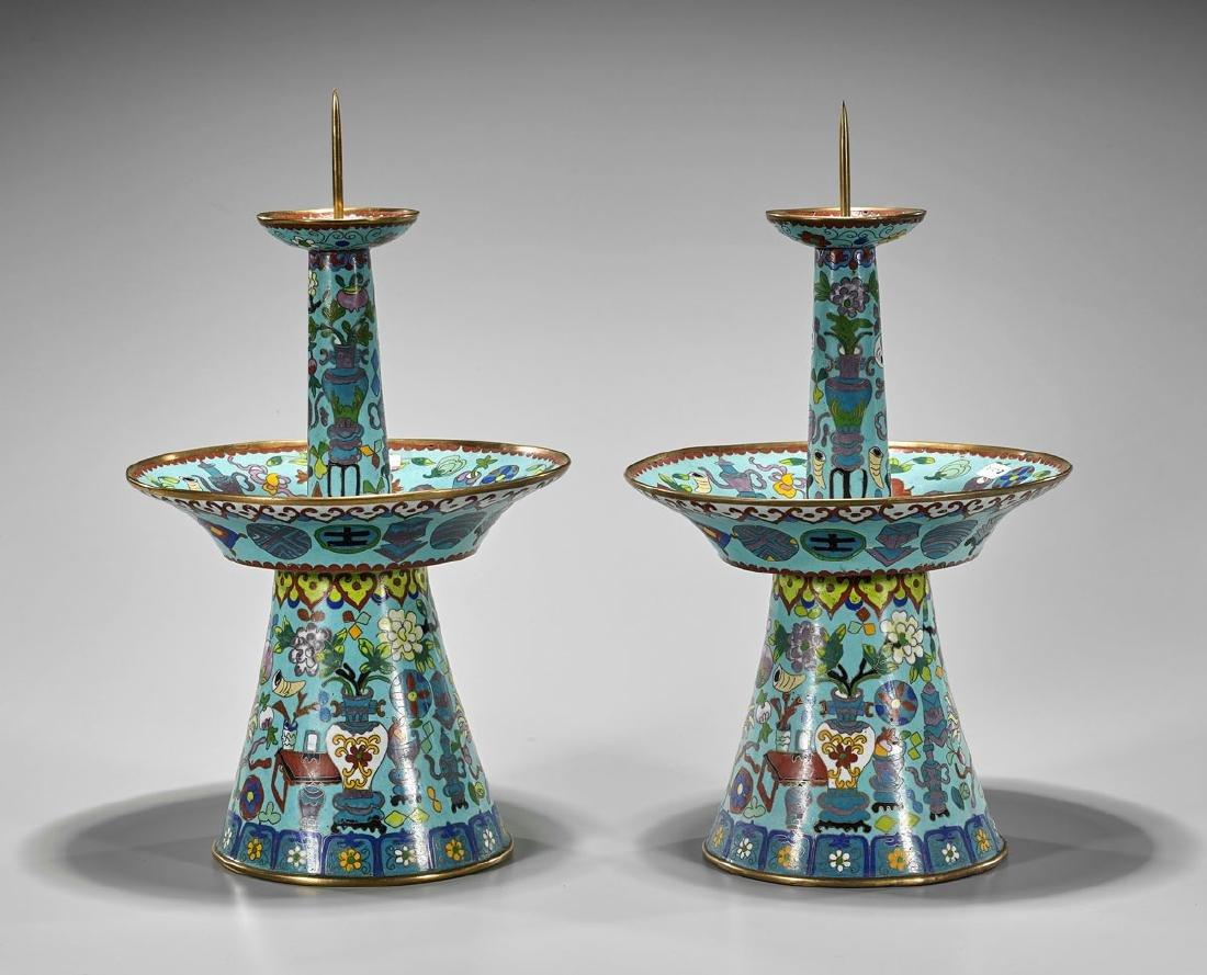 Pair Old Cloisonne Enamel Candlesticks