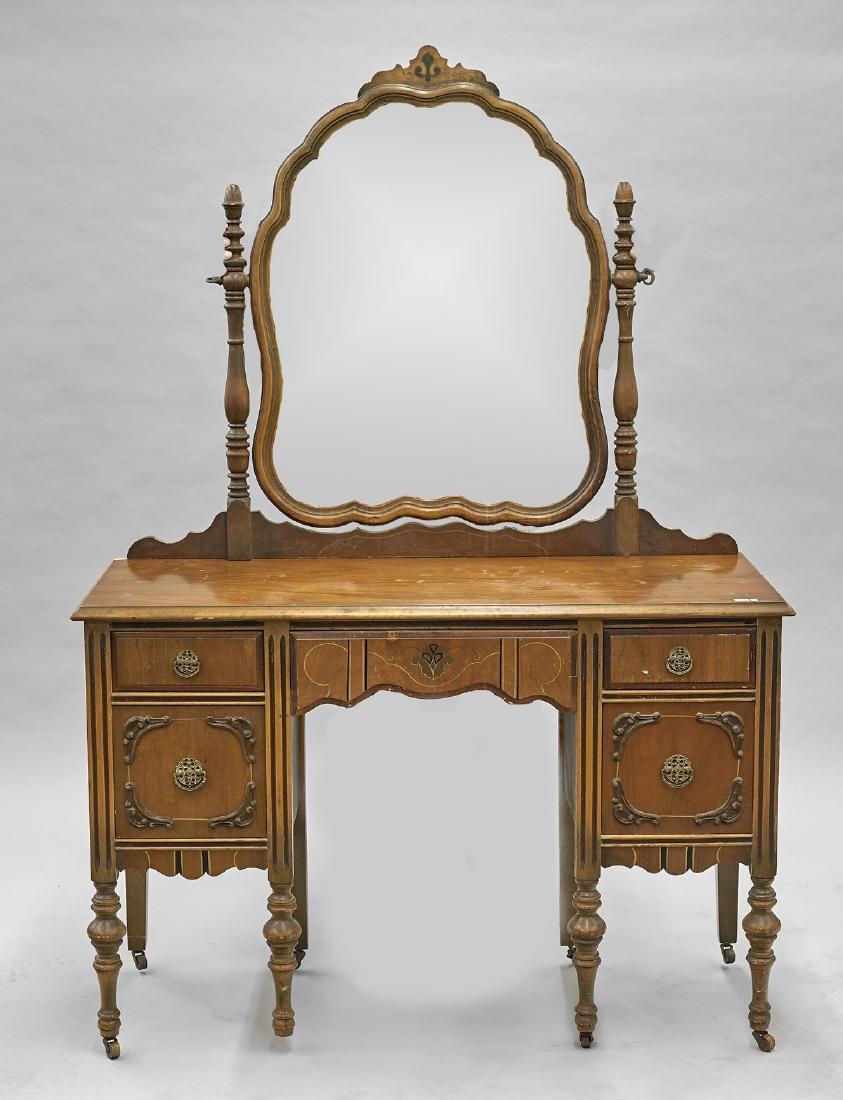 Wood Vanity Set: Dresser, Table & Mirror