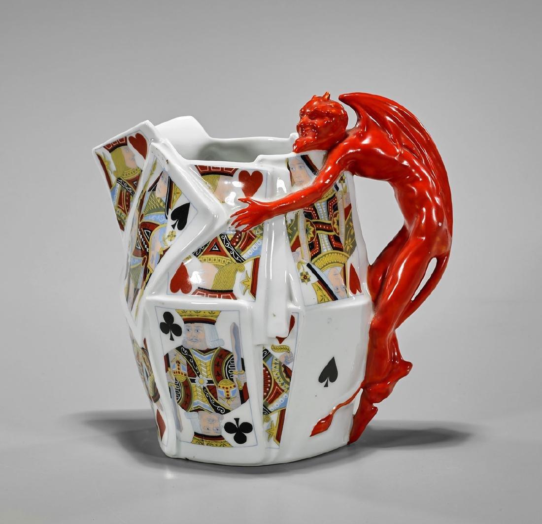 Royal Bayreuth Porcelain Pitcher: Devil & Cards