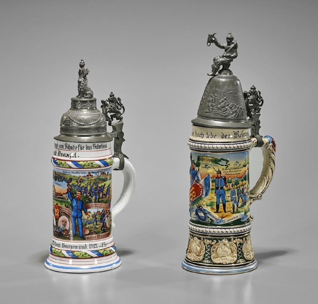 Two German Regimental-Style Beer Steins