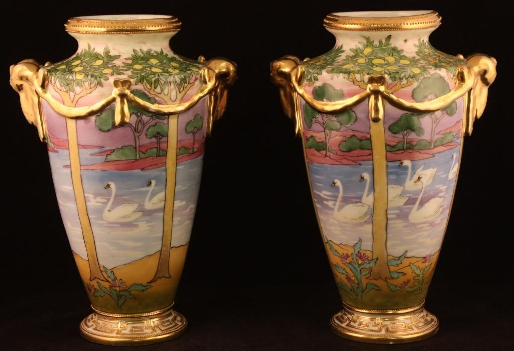 NIPPON Gold Handle Vases with Sunset Scene