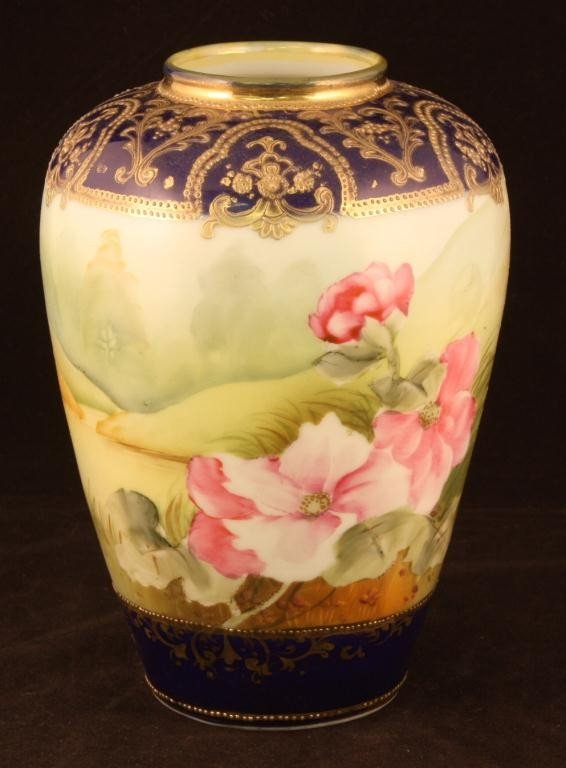 NIPPON Beautiful Cobalt Urn with Floral Scene