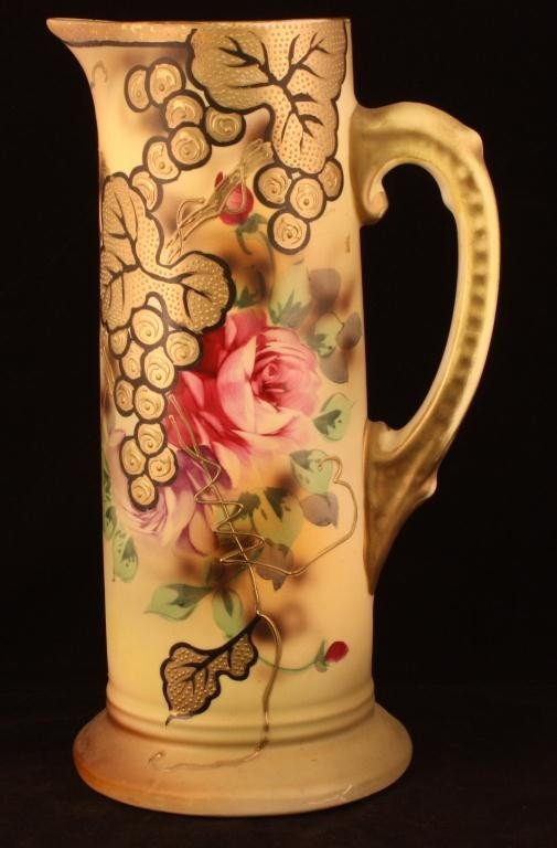 NIPPON Gold Overlay Pitcher with Roses