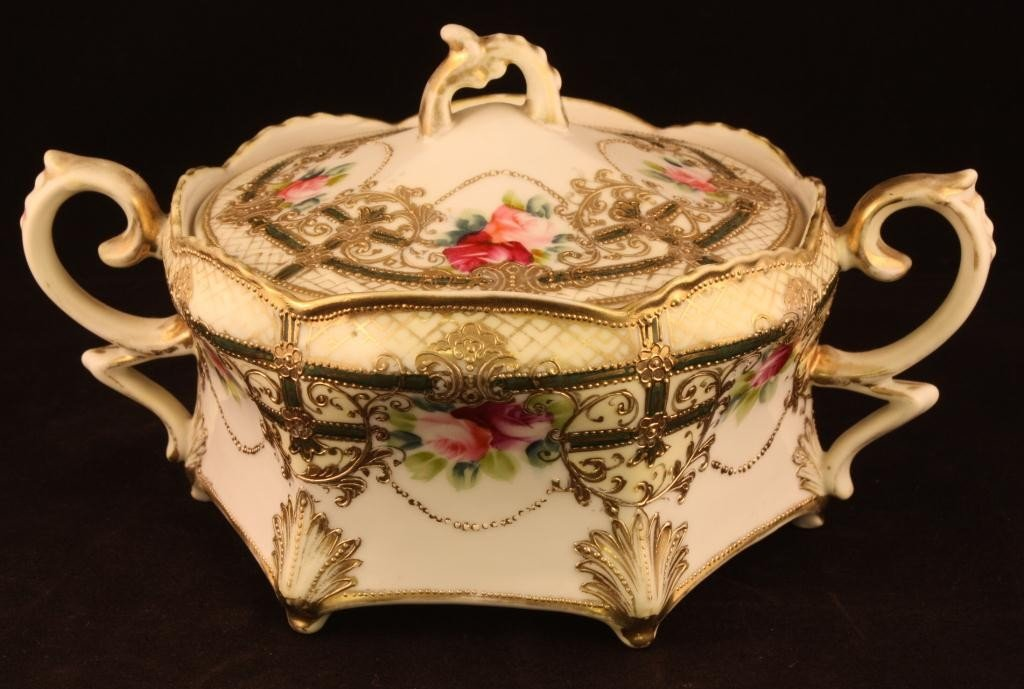 NIPPON Biscuit Jar with Pink/Red Roses