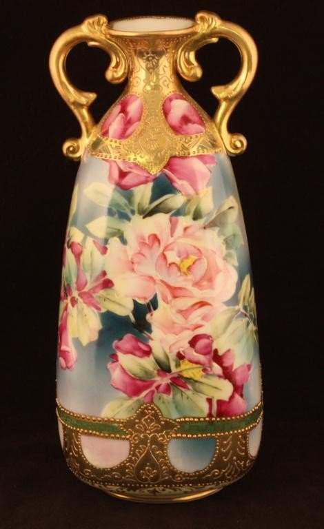 NIPPON Double Handled Vase with Roses