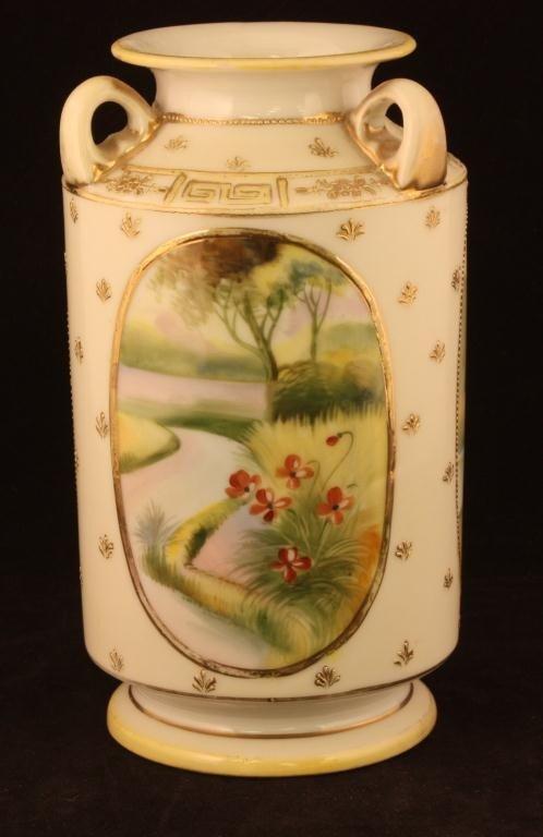 NIPPON Tri-top Handled Vase with Water Scenes