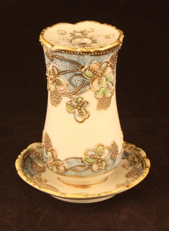NIPPON Hatpin Holder with Raised Gold Design