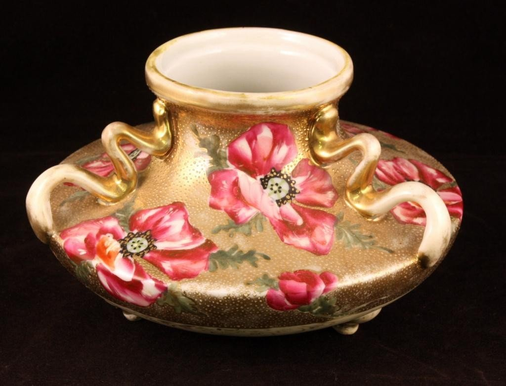 NIPPON Three-handled Vase with Red Floral Scene