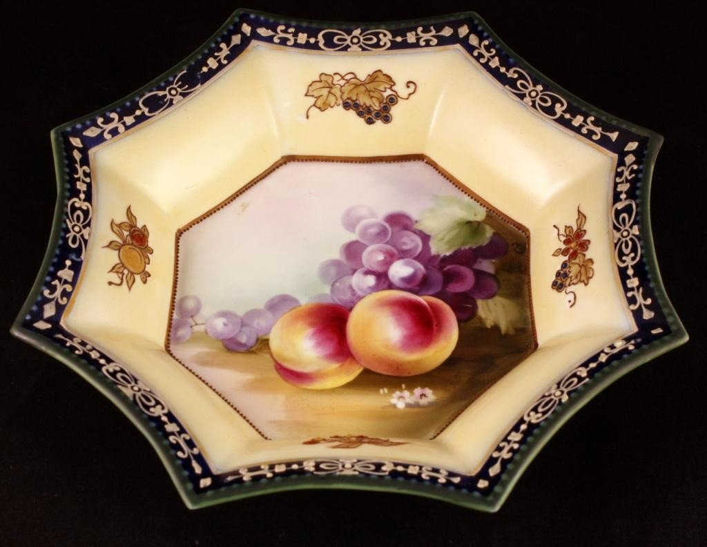 NIPPON Eight-Sided Bowl with Fruit Design