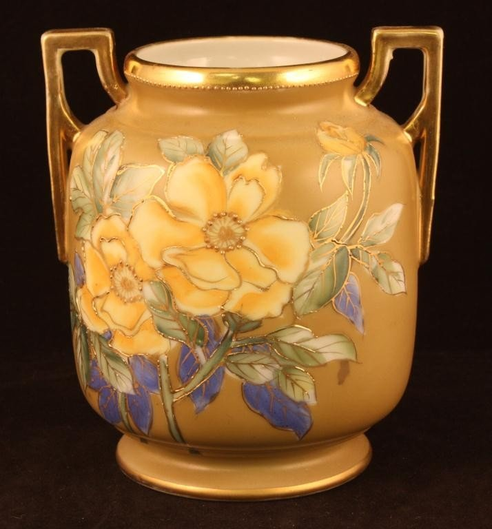 NIPPONDouble Handled Vase, Blue/Yellow Florals