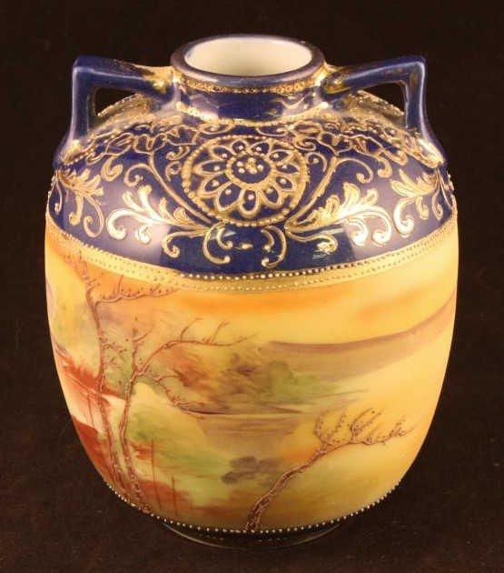 NIPPON Cobalt Vase with Woodland & Lake Scene