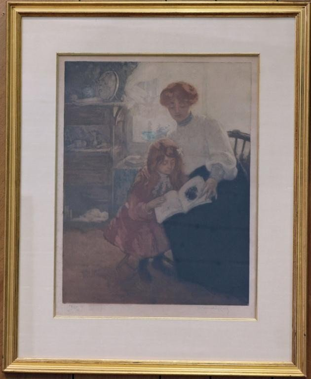 2: Mother and Child Reading, Color Etching, ROBBE