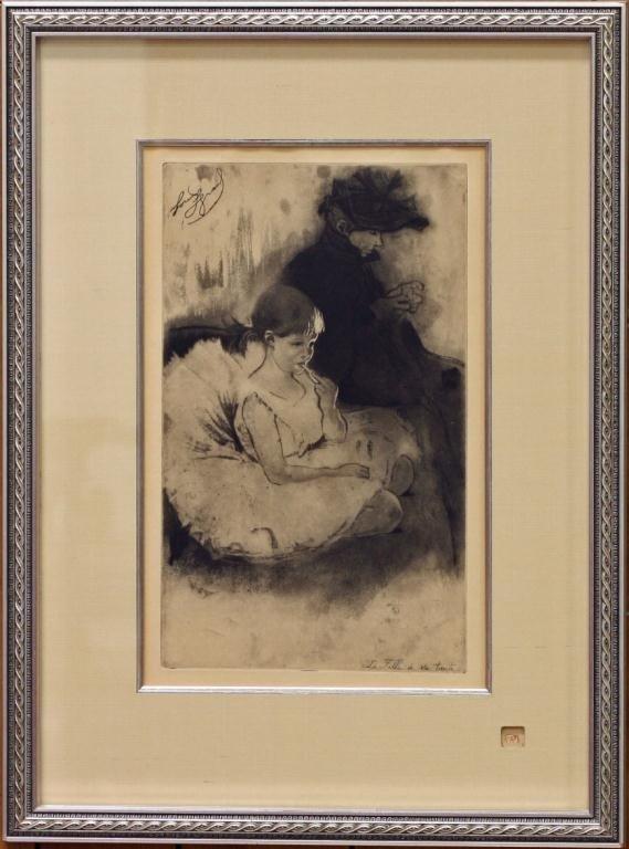 """3: """"La fille a Sa Tante"""", Etching by Louis Legrand"""
