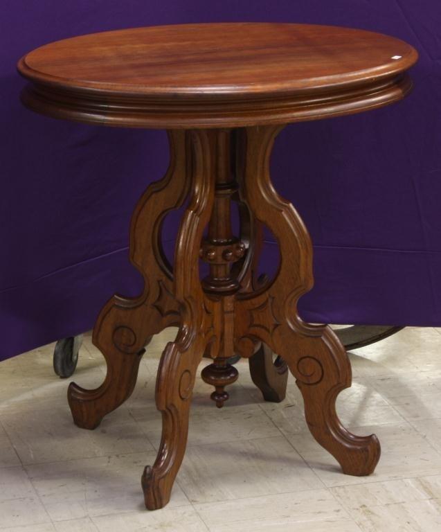 7: Oval Walnut Victorian Lamp Table