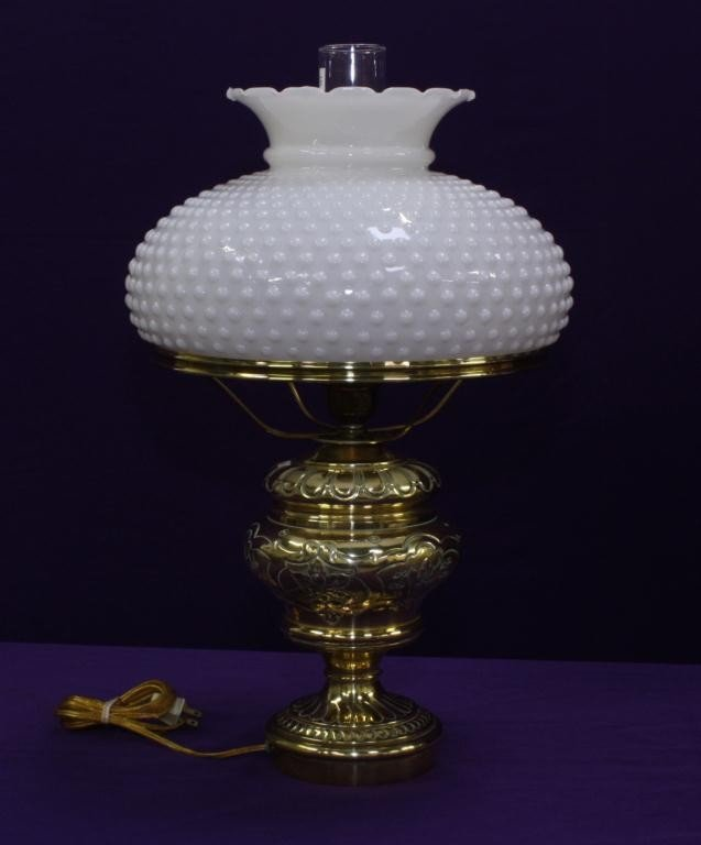 9: Brass Converted Oil Lamp with Hobnail Shade
