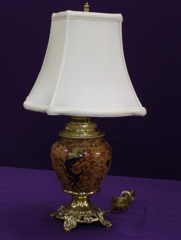 10A: Rare Faience Brass  Lamp