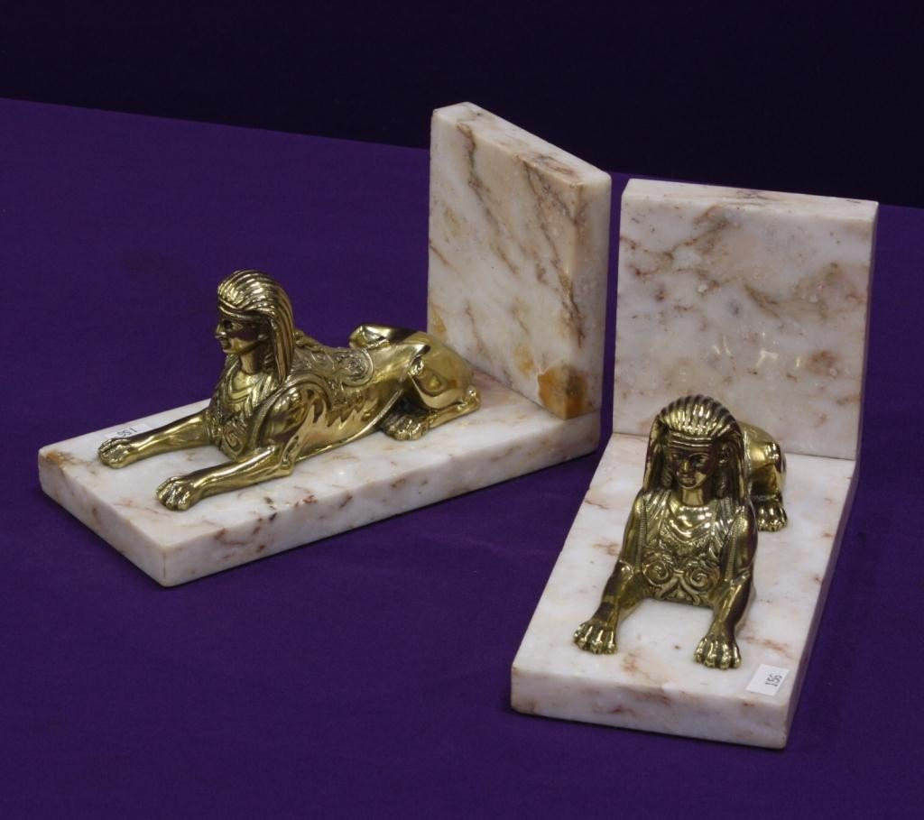 10C: Solid Brass Sphinx and Marble Bookends